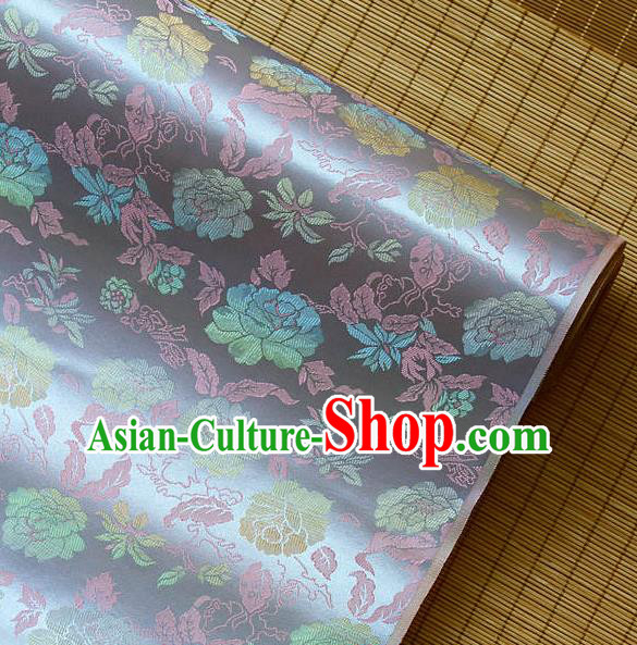 Traditional Asian Classical Peony Pattern Light Purple Brocade Drapery Korean Hanbok Palace Satin Silk Fabric