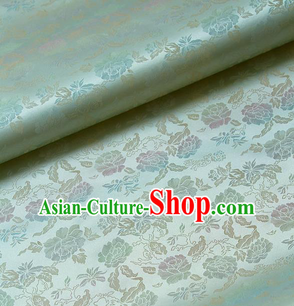 Traditional Asian Classical Peony Pattern Light Green Brocade Drapery Korean Hanbok Palace Satin Silk Fabric