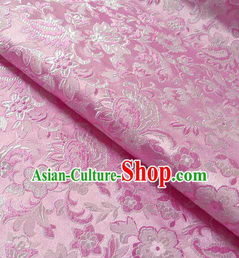 Chinese Traditional Pink Brocade Fabric Tang Suit Classical Pattern Design Silk Material Satin Drapery