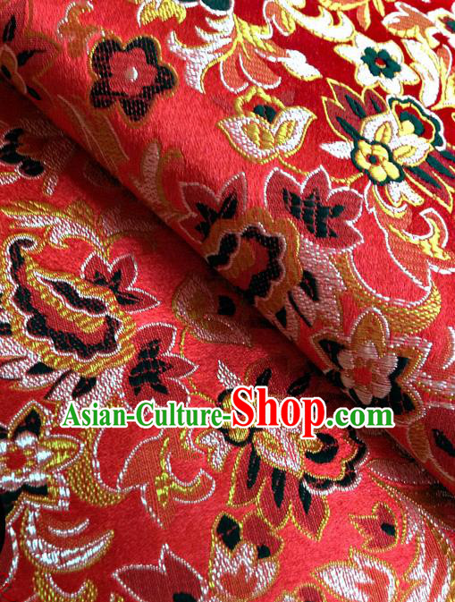 Chinese Traditional Red Brocade Fabric Tang Suit Classical Pattern Design Silk Material Satin Drapery