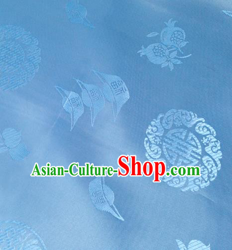 Chinese Traditional Blue Brocade Fabric Tang Suit Classical Ingot Pattern Design Silk Material Satin Drapery