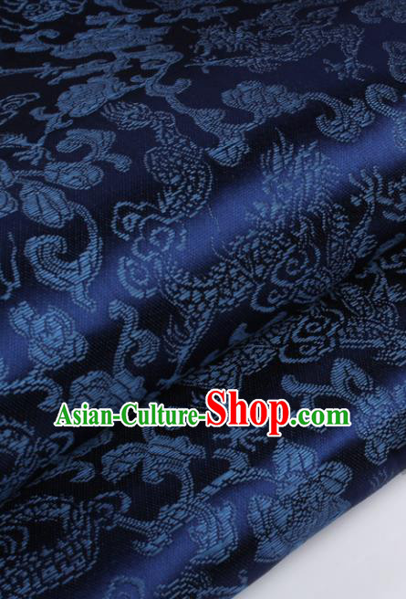 Chinese Traditional Navy Brocade Fabric Tang Suit Classical Dragons Pattern Design Silk Material Satin Drapery