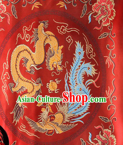 Chinese Traditional Red Brocade Fabric Tang Suit Classical Dragon Phoenix Pattern Design Silk Material Satin Drapery