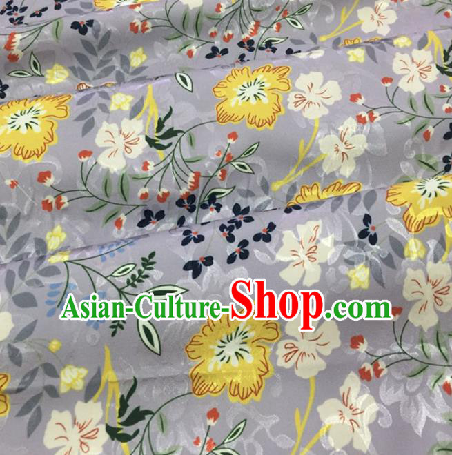 Chinese Traditional Apparel Fabric Grey Brocade Classical Pattern Design Silk Material Satin Drapery