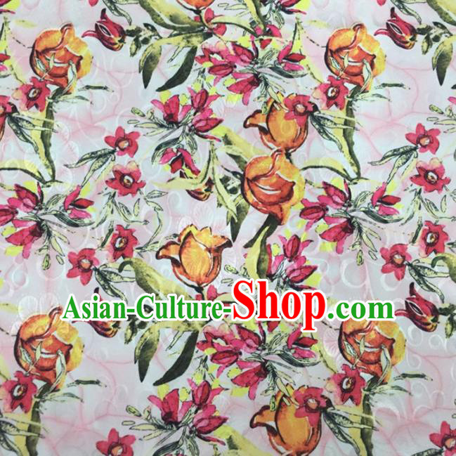 Chinese Traditional Apparel Fabric Qipao Brocade Classical Tulip Pattern Design Silk Material Satin Drapery