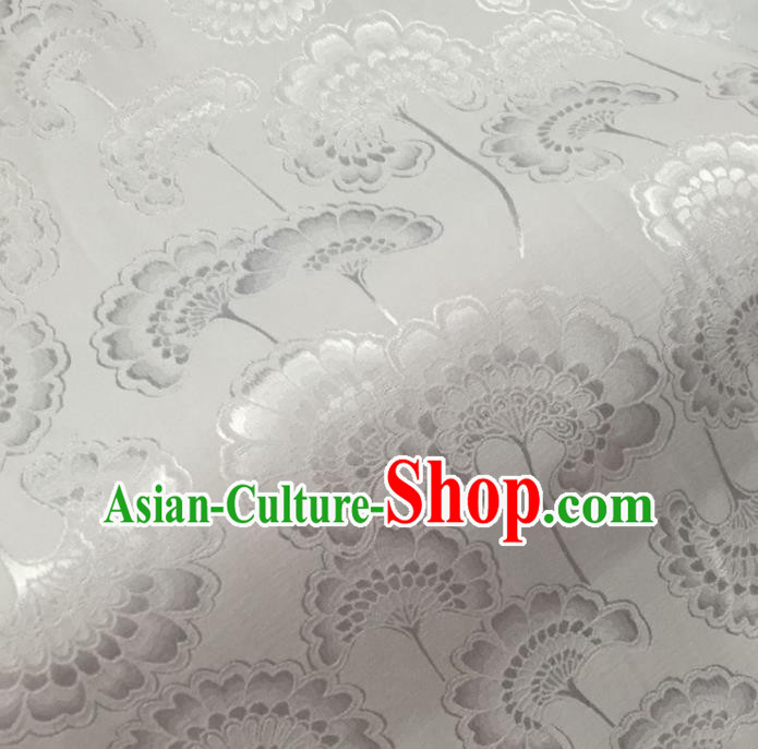 Chinese Traditional Apparel Fabric White Brocade Classical Celosia Cristata Pattern Design Silk Material Satin Drapery