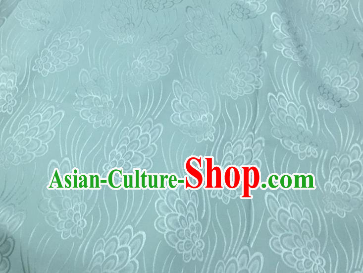 Chinese Traditional Apparel Fabric Green Brocade Classical Pattern Design Silk Material Satin Drapery