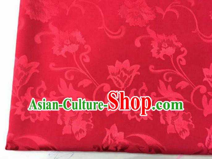 Chinese Traditional Apparel Fabric Red Brocade Classical Pattern Design Silk Material Satin Drapery
