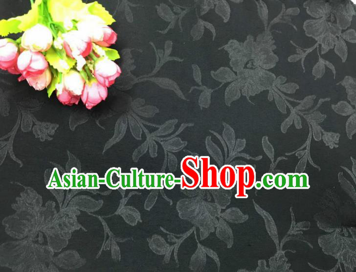 Chinese Traditional Apparel Fabric Black Qipao Brocade Classical Peony Pattern Design Silk Material Satin Drapery