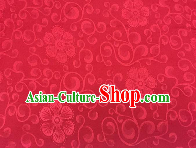 Chinese Traditional Apparel Fabric Qipao Red Brocade Classical Flowers Pattern Design Silk Material Satin Drapery