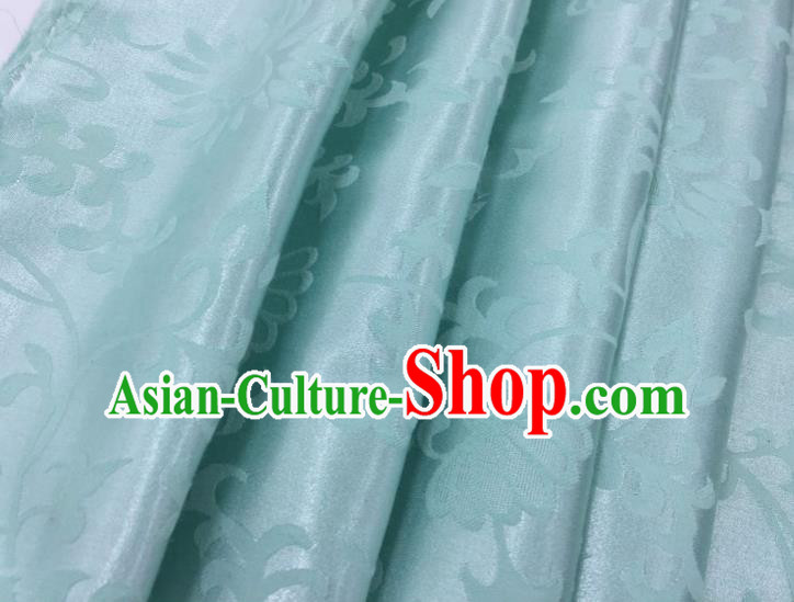 Chinese Traditional Apparel Fabric Qipao Light Blue Brocade Classical Pattern Design Silk Material Satin Drapery