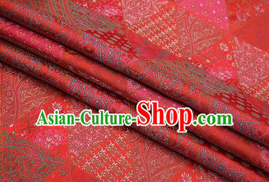 Chinese Traditional Apparel Fabric Tibetan Robe Red Brocade Classical Pattern Design Material Satin Drapery
