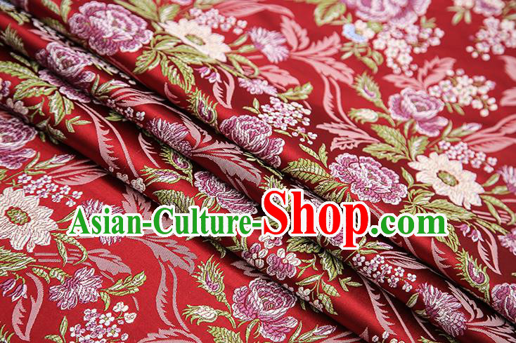 Chinese Traditional Bride Apparel Fabric Purplish Red Brocade Classical Peony Pattern Design Material Satin Drapery