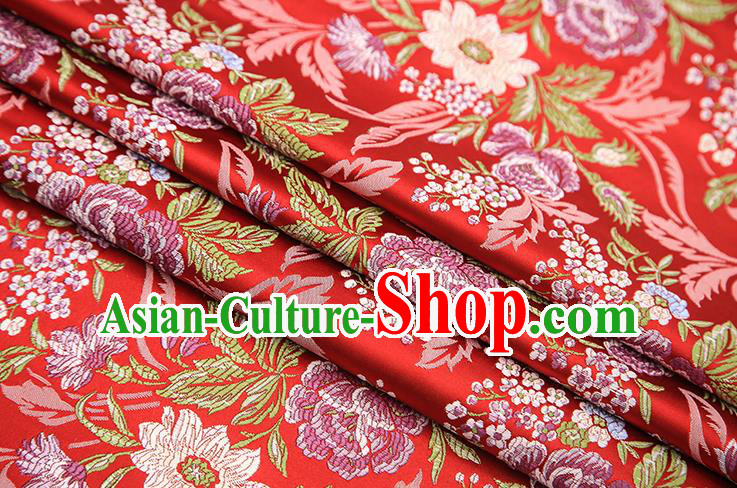 Chinese Traditional Bride Apparel Fabric Red Brocade Classical Peony Pattern Design Material Satin Drapery