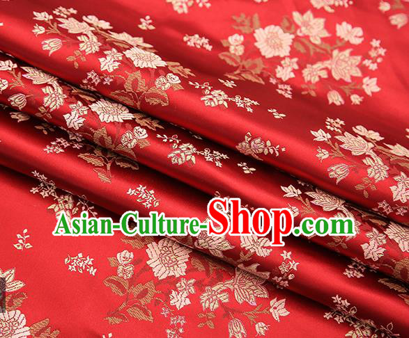 Traditional Chinese Purplish Red Brocade Fabric Tang Suit Classical Pattern Design Satin Material Drapery