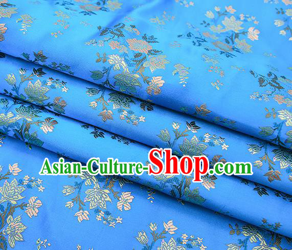 Traditional Chinese Light Blue Brocade Fabric Tang Suit Classical Pattern Design Satin Material Drapery
