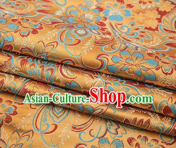 Chinese Traditional Golden Satin Brocade Fabric Tang Suit Classical Pattern Design Material Drapery