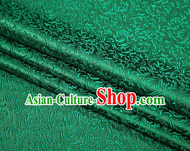 Top Grade Chinese Traditional Green Brocade Fabric Tang Suit Satin Material Classical Pattern Design Drapery