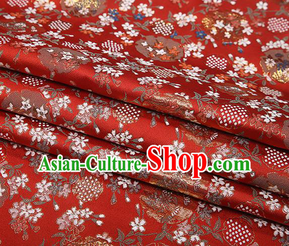 Chinese Traditional Jacquard Satin Fabric Red Brocade Classical Pattern Design Material Drapery