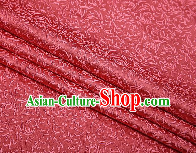 Top Grade Chinese Traditional Watermelon Red Brocade Fabric Tang Suit Satin Material Classical Pattern Design Drapery