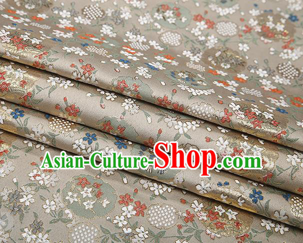 Chinese Traditional Jacquard Satin Fabric Light Golden Brocade Classical Pattern Design Material Drapery