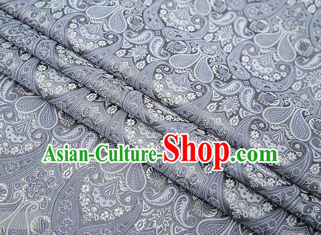Chinese Traditional Grey Satin Fabric Tang Suit Brocade Classical Loquat Flower Pattern Design Material Drapery