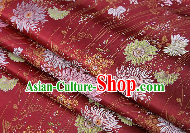 Top Grade Chinese Traditional Purplish Red Brocade Fabric Tang Suit Silk Material Classical Chrysanthemum Pattern Design Drapery