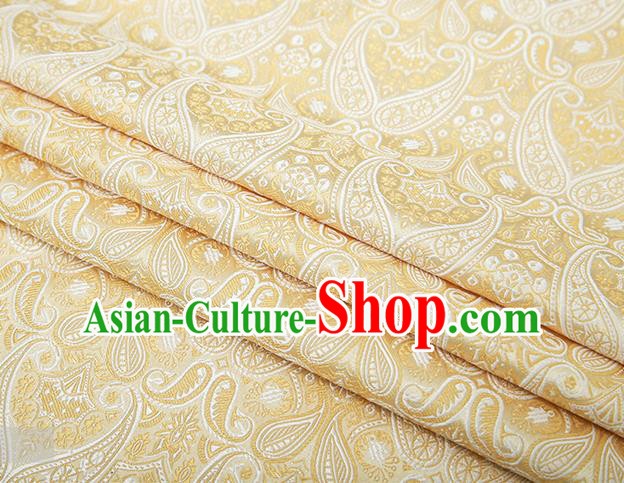 Chinese Traditional Golden Satin Fabric Tang Suit Brocade Classical Loquat Flower Pattern Design Material Drapery
