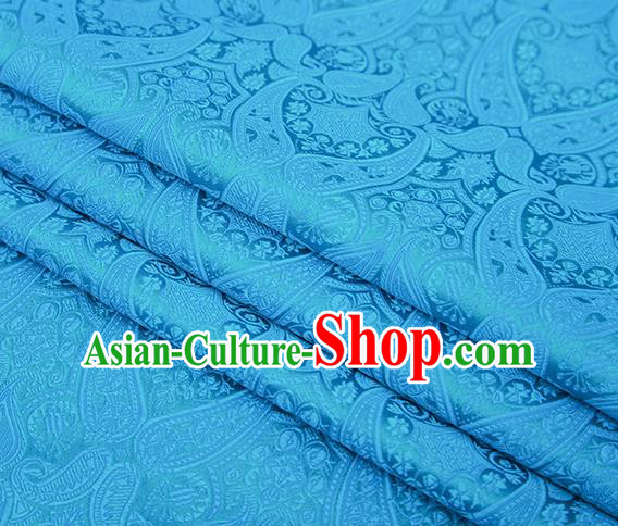 Chinese Traditional Blue Satin Fabric Tang Suit Brocade Classical Loquat Flower Pattern Design Material Drapery