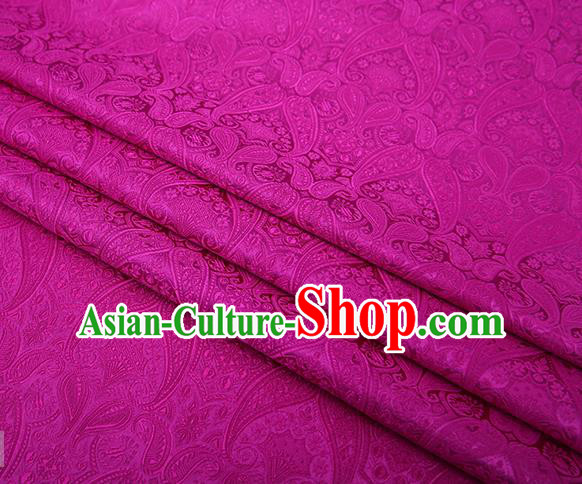 Chinese Traditional Rosy Satin Fabric Tang Suit Brocade Classical Loquat Flower Pattern Design Material Drapery