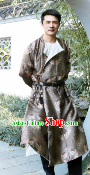 Chinese Ancient Tang Dynasty Light Brown Round Collar Robe Swordsman Imperial Bodyguard Costumes for Men