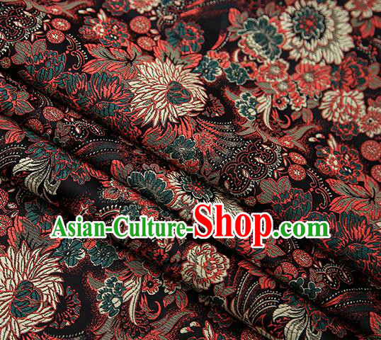 Chinese Traditional Tang Suit Black Brocade Fabric Classical Chrysanthemum Pattern Design Material Satin Drapery