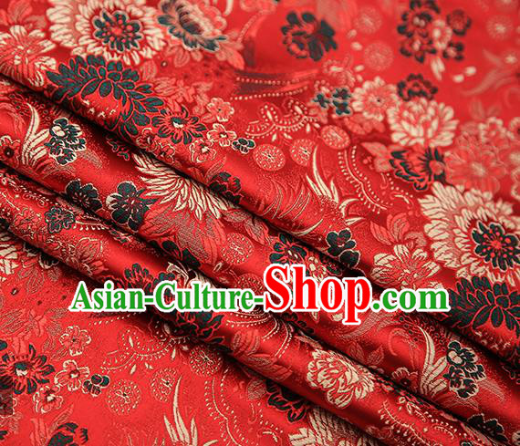 Chinese Traditional Tang Suit Red Brocade Fabric Classical Chrysanthemum Pattern Design Material Satin Drapery