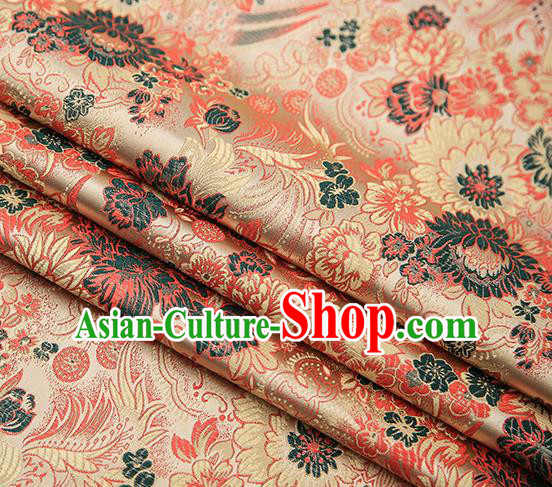 Chinese Traditional Tang Suit Golden Brocade Fabric Classical Chrysanthemum Pattern Design Material Satin Drapery