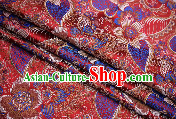 Traditional Chinese Tang Suit Purplish Red Brocade Fabric Classical Pattern Design Material Satin Drapery