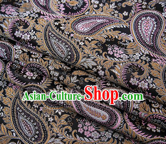 Traditional Chinese Tang Suit Black Brocade Fabric Classical Loquat Flowers Pattern Design Material Satin Drapery