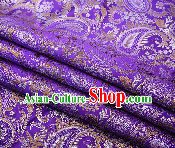 Traditional Chinese Tang Suit Purple Brocade Fabric Classical Loquat Flowers Pattern Design Material Satin Drapery