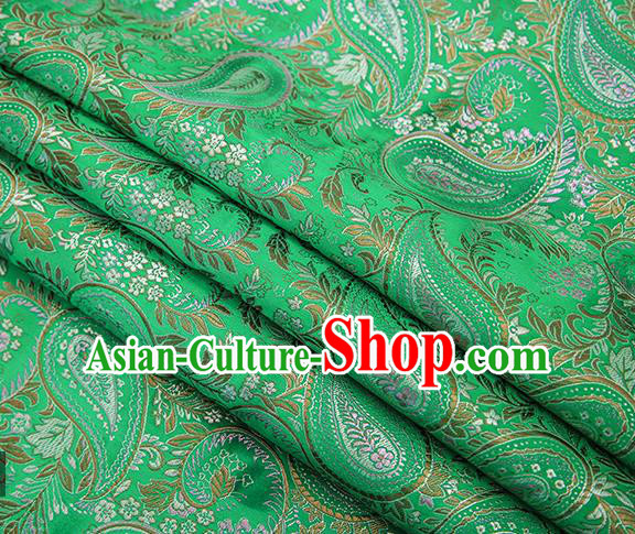 Traditional Chinese Tang Suit Green Brocade Fabric Classical Loquat Flowers Pattern Design Material Satin Drapery