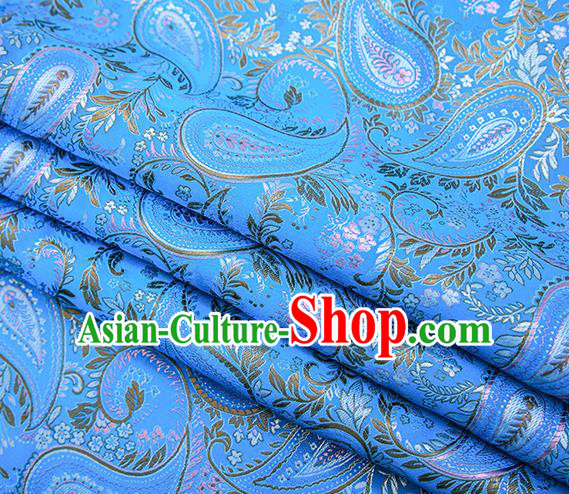 Traditional Chinese Tang Suit Blue Brocade Fabric Classical Loquat Flowers Pattern Design Material Satin Drapery
