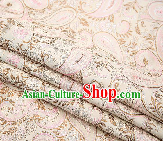 Traditional Chinese Tang Suit Light Pink Brocade Fabric Classical Loquat Flowers Pattern Design Material Satin Drapery
