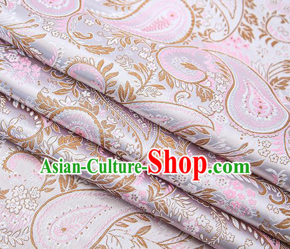 Traditional Chinese Tang Suit Lilac Brocade Fabric Classical Loquat Flowers Pattern Design Material Satin Drapery