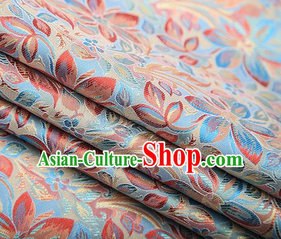 Traditional Chinese Tang Suit Light Blue Brocade Fabric Classical Petunia Pattern Design Satin Material Drapery
