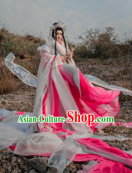 Asian Chinese Cosplay Costumes Ancient Myth Legend Western Queen Clothing and Headpiece Complete Set