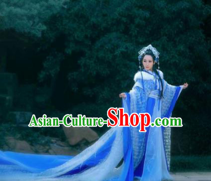 Asian Chinese Cosplay Princess Hanfu Dress Ancient Imperial Consort Embroidered Costumes and Headpiece Complete Set