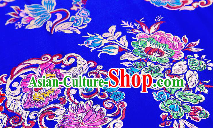 Chinese Traditional Royalblue Nanjing Brocade Satin Fabric Tang Suit Material Classical Peony Pattern Design Drapery