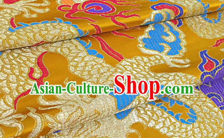 Chinese Traditional Golden Nanjing Brocade Satin Fabric Tang Suit Material Classical Peony Pattern Design Drapery
