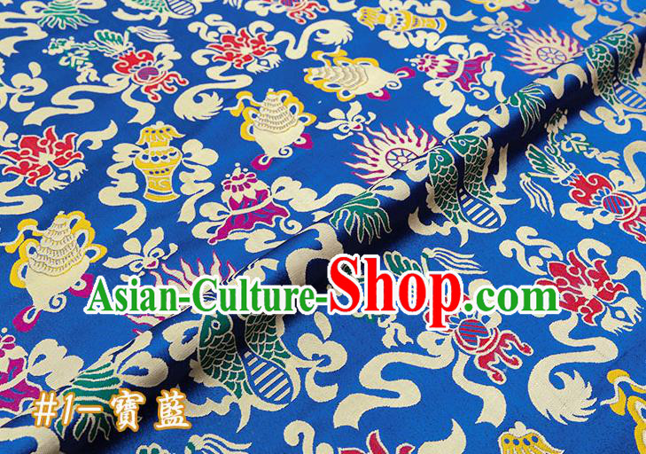 Chinese Traditional Blue Nanjing Brocade Satin Fabric Tang Suit Material Classical Double Fishes Pattern Design Drapery