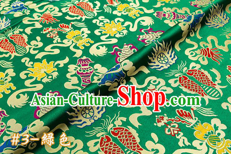 Chinese Traditional Green Nanjing Brocade Satin Fabric Tang Suit Material Classical Double Fishes Pattern Design Drapery