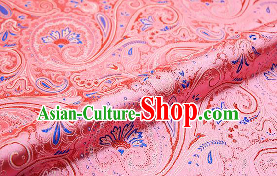 Chinese Traditional Satin Classical Loquat Flower Pattern Design Light Pink Brocade Fabric Tang Suit Material Drapery