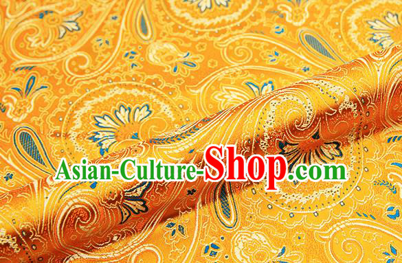 Chinese Traditional Satin Classical Loquat Flower Pattern Design Golden Brocade Fabric Tang Suit Material Drapery